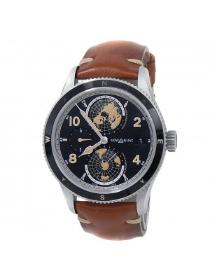 Montblanc 1858 Geosphere Stainless Steel Leather Auto Black Men's Watch 119286