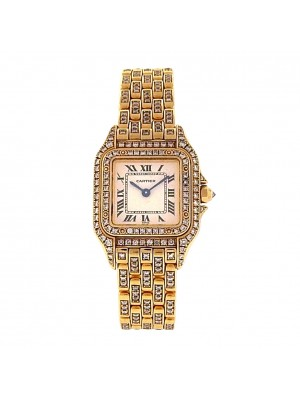 Ladies solid Gold Cartither Panthere Full Diamond Bezel & Diamond Bracelet Watch