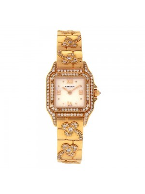 Cartier Panthere Diamonds Pave 18k Yellow Gold Swiss Quartz Ladies Watch 1280 2