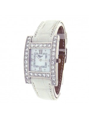 Chopard H Diamond 13/6621 18k White Gold Leather Quartz Diamonds Ladies Watch
