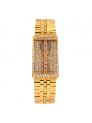 Corum Bridge 18k Yellow Gold Diamonds Pave Dial Manual Ladies Watch 132031112