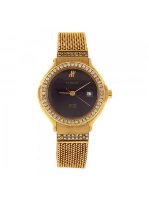 Hublot Classic 18k Yellow Gold Diamond Bezel Swiss Quartz Ladies Watch 139105