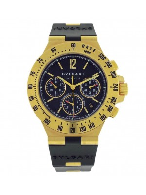 Bvlgari Diagono Professional CH40GTA Yellow Gold Black Rubber Strap Mens Watch