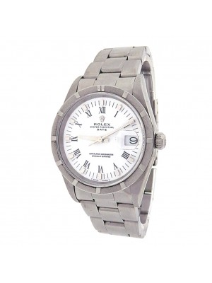 Rolex Date 15010 Stainless Steel Oyster Automatic White Men's Watch U Serial