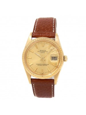 Rolex Date 18k Yellow Gold Leather Automatic Champagne Men's Watch 15038