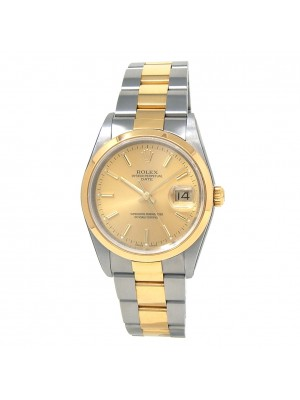 Rolex Date 18k Yellow Gold & Stainless Steel Men's Watch Automatic 15223