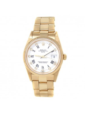 Rolex Date 18k Yellow Gold Oyster Automatic Diamonds White Men's Watch 15238