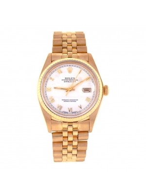 Rolex Datejust 18k Yellow Gold Fluted Bezel Automatic Men's Watch 16018