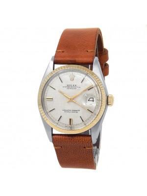 Rolex Datejust Stainless Steel Gold Leather Automatic Silver Men's Watch 1601