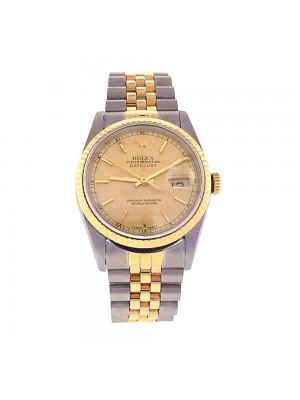 Rolex Datejust Stainless Steel 18k Yellw Gold Fluted Bezel Automatic Watch 16233