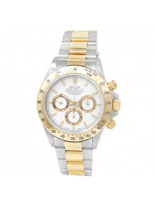 Rolex Daytona 18k Yellow Gold Stainless Steel Oyster Auto White Mens Watch 16523