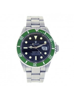 Rolex Submariner D Serial Green Bezel Stainless Steel Automatic Mens Watch 16610