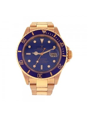 Rolex Oyster Perpetual Date Submariner 18K Yellow Gold Automatic Watch 16618