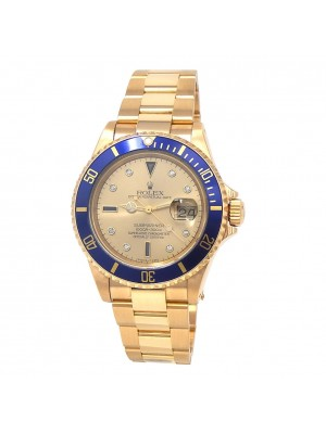 Rolex Submariner N Serial 18k Yellow Gold Blue Bezel Automatic Men's Watch 16618