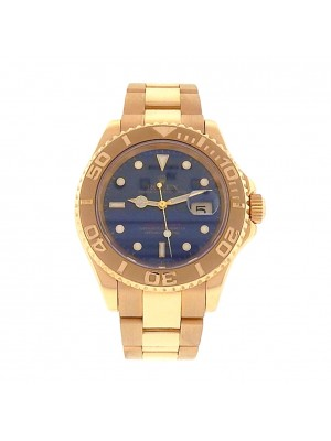 Men 18k Solid Yellow Gold Rolex Yacht Master Blue Dial Automatic Sport Watch