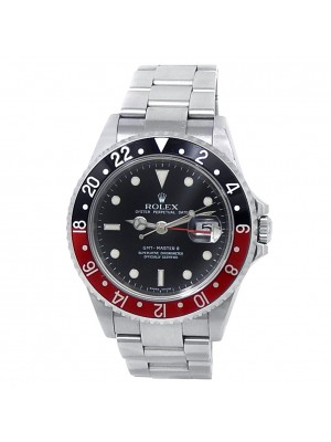 Rolex GMT-Master II Coke Stainless Steel Oyster Automatic Black Mens Watch 16710