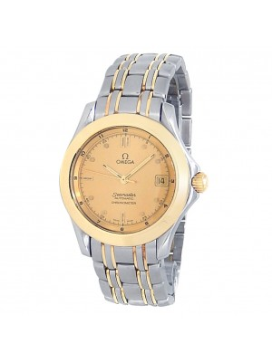 Omega Vintage Seamaster 18k Gold Steel Automatic Champagne Men's Watch 168.1501