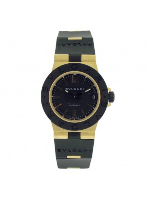 Bvlgari Diagono Ladies AL 32 G Yellow Gold Aluminum Automatic Date Rubber Watch