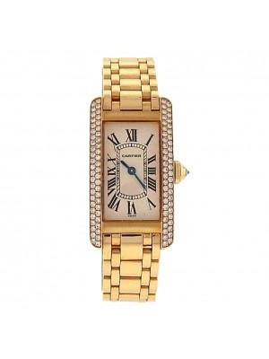 Cartier Tank Americaine 1710 18k Yellow Gold Quartz Diamonds White Ladies Watch