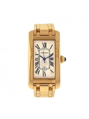 Cartier Tank Americaine 1725 18k Yellow Gold Automatic White Watch