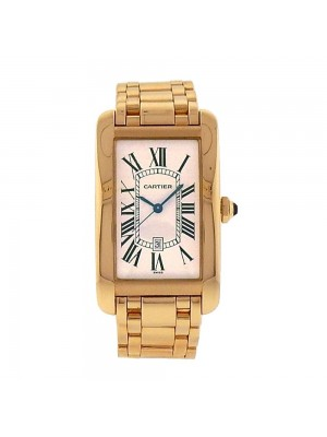 Cartier Tank Americaine Date Display 18k Yellow Gold Automatic Ladies Watch 1740