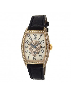 Franck Muller Cintree Curvex 1750 S6 PM D CD 18k Gold Diamond Silver Lady Watch