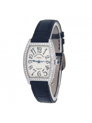 Franck Muller Curvex 18k White Gold Diamond Bezel Quartz Ladies Watch 1752 QZ DP