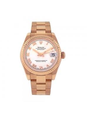 Rolex Datejust 18K Rose Gold Date Fluted Bezel Automatic Men's Watch 178275