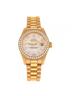 Rolex Datejust 18k Yellow Gold MOP Dial Diamond Bezel Automatic Watch 179138
