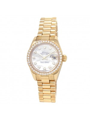 Rolex Datejust 18k Yellow Gold President Diamonds Mother of Pearl Watch 179138