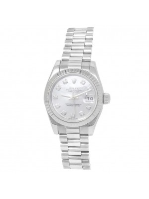 Rolex Datejust 18k White Gold President Diamonds Mother of Pearl Watch 179179