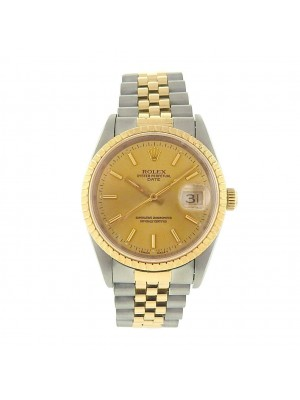 Rolex Date 15223 Stainless Steel Automatic 18k Yellow Gold Men's Watch