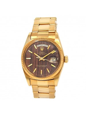 Rolex Day-Date 18k Yellow Gold Oyster Automatic Wood Men's Watch 1803