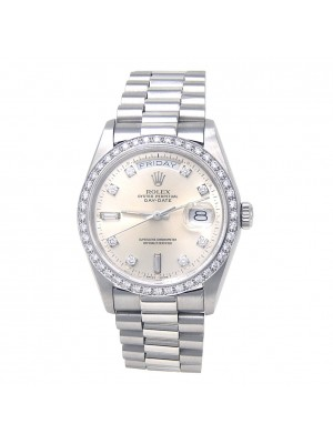 Rolex Day-Date Platinum Diamond Bezel Automatic Midsize Watch 18046
