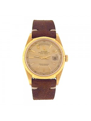 Rolex DayDate 18k Yellow Gold Champagne Dial Leather Strap Automatic Watch 18248