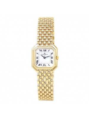 Baume & Mercier Geneve 18k Yellow Gold Quartz White Ladies Watch 18259