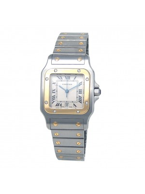 Cartier Santos Galbee Stainless Steel 18k Yellow Gold Quartz Ladies Watch 187901