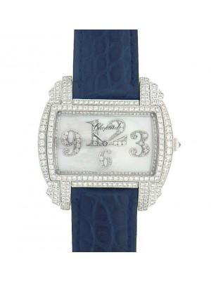 Chopard Classic 139266-1001 18K White Gold Black Leather Diamonds Ladies Watch