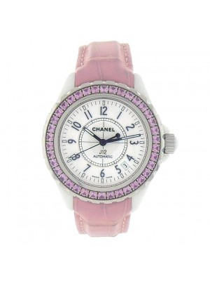 Chanel J12 H1337 Ceramic Pink Sapphire White Ladies Watch