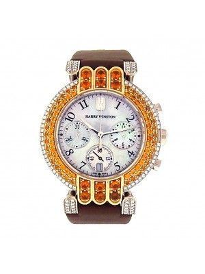 Harry Winston Premier Chrono 200/MCQB37WG 18k WG Diamond Mother of Pearl Watch