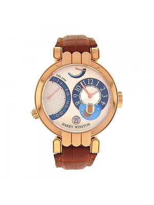 Harry Winston Premier Excenter Timezone 18K Rose Gold Manual Watch 200/MMTZ39RLW