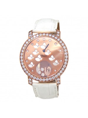Chopard Happy Sport 18k Rose Gold Leather Diamonds Rose Ladies Watch 207450-5008