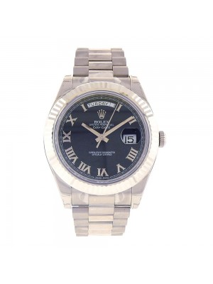 Rolex Day-Date II 18k White Gold Black Roman Fluted Bezel Automatic Watch 218239