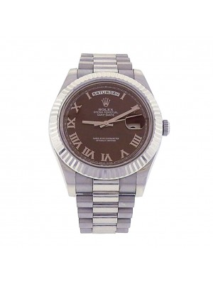 Rolex Day-Date II 218239 18k White Gold Oyster Automatic Brown Men's Watch
