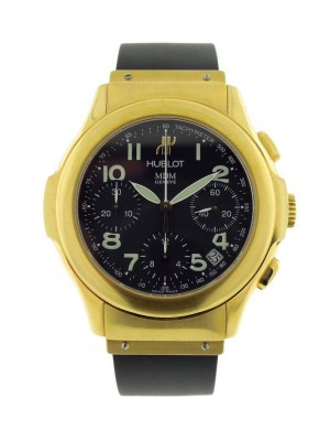 Hublot MDM 1810.130.3 Yellow Gold Chronograph Automatic Black Dial Mens Watch