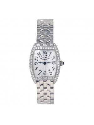 Franck Muller Cintree Curvex 18k White Gold Diamond Bezel Quartz Watch 2251 QZ D