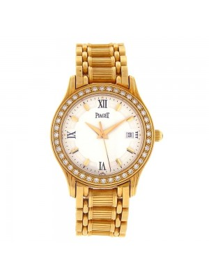 Piaget Polo 18k Yellow Gold Diamond Bezel Swiss Quartz Ladies Watch 23005 M501 D