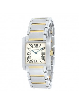 Cartier Tank Francaise Rose Gold Stainless Steel Quartz White Ladies Watch 2301