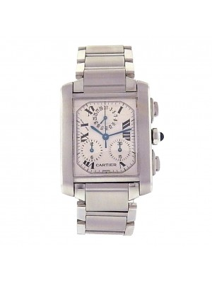 Cartier Tank Francaise 2303 Chrono Stainless Steel Quartz Silver Men's Watch