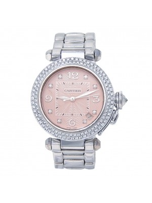Cartier Pasha 18k White Gold Diamond Bezel Automatic Ladies Watch 2308